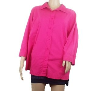 AVENUE CLASSIC Fit Stretch Button Down Pink Shirt